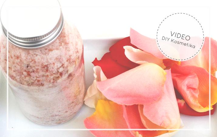 diy domácí relaxační růžová sůl do koupele