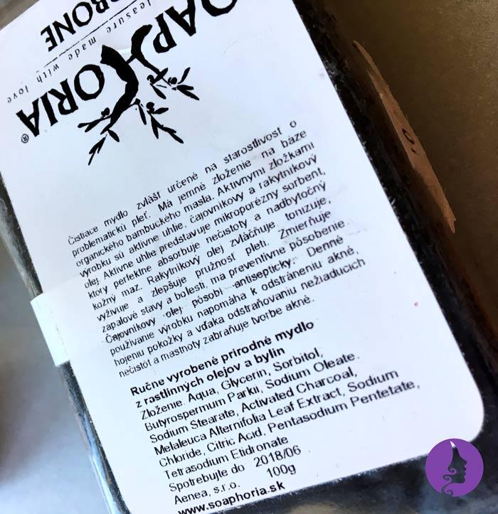 Složení mýdla Carbone od Soaphoria
